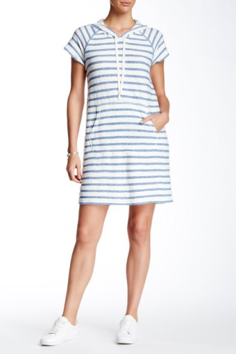 Hooded Stripe Shift Dress